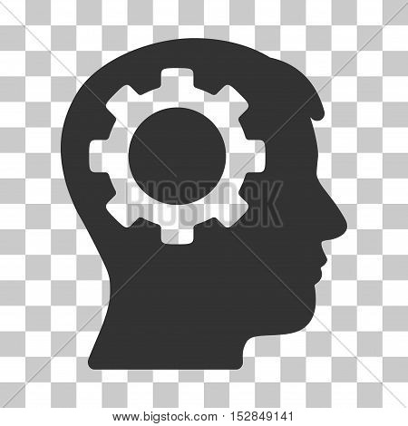 Gray Intellect Gear interface toolbar icon. Vector pictograph style is a flat symbol on chess transparent background.