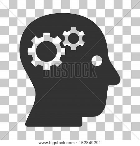 Gray Intellect Gears interface toolbar pictogram. Vector pictograph style is a flat symbol on chess transparent background.