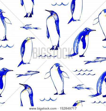 Penguins seamless pattern.Wave and fish.Watercolor hand drawn illustration.