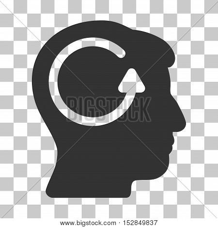 Gray Refresh Head Memory interface pictogram. Vector pictogram style is a flat symbol on chess transparent background.