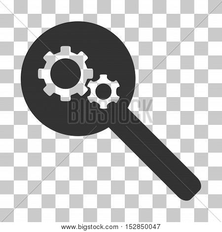 Gray Search Gears Tool toolbar pictogram. Vector pictogram style is a flat symbol on chess transparent background.