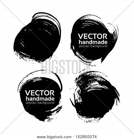Rround Abstract Black Backgrounds Painted By Brush Vector Objects Isolated On A White
