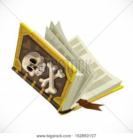 Antique Book With Terrible Skull On Cover Isolated On White Background