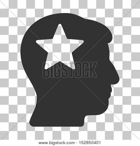 Gray Star Head interface icon. Vector pictograph style is a flat symbol on chess transparent background.