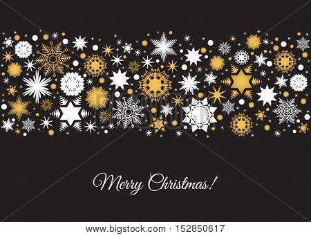 Merry Christmas background. Tape with holiday pattern from gold and white snowflakes xmas elements and decorations. Vector illustration for greeting card label poster or invitation design.