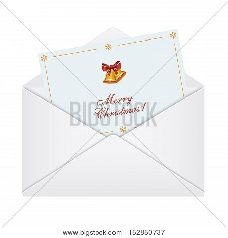 Merry Christmas card in an envelope. Vector illustration on white background.