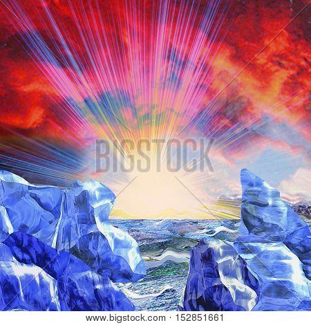 Abstract arctic landscape with setting sun. Panoramic winter landscape with glaciers, sea, red sky and sun rays
