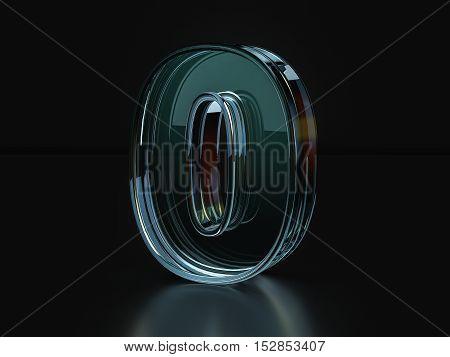 Glass Number 0  3D Illustration