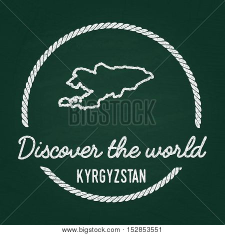 White Chalk Texture Hipster Insignia With Kyrgyz Republic Map On A Green Blackboard. Grunge Rubber S