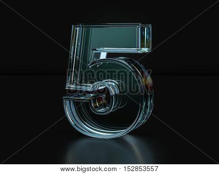 Glass Number 5  3D Illustration