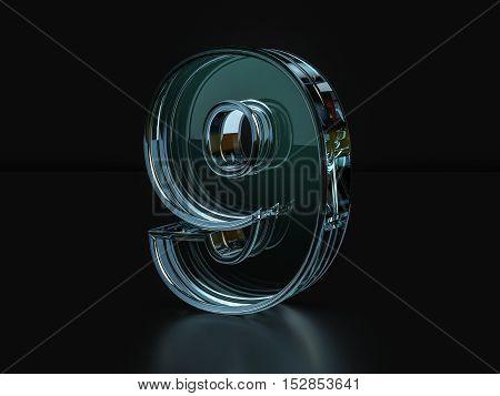 Glass Number 9  3D Illustration