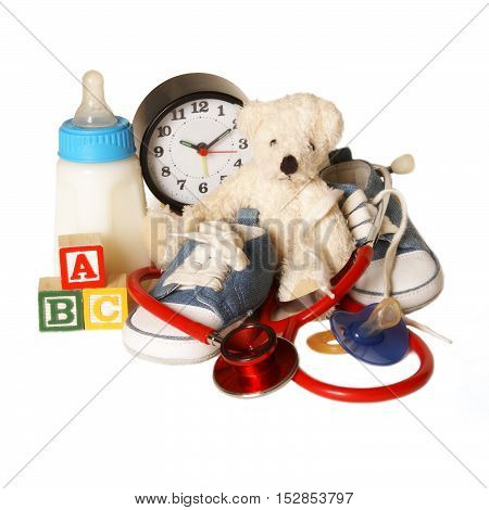 An isolated group of items related to the pediatricians theme for good use in healthcare designs.