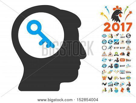 Brain Key icon with bonus 2017 new year icon set. Vector illustration style is flat iconic symbols, modern colors, rounded edges.
