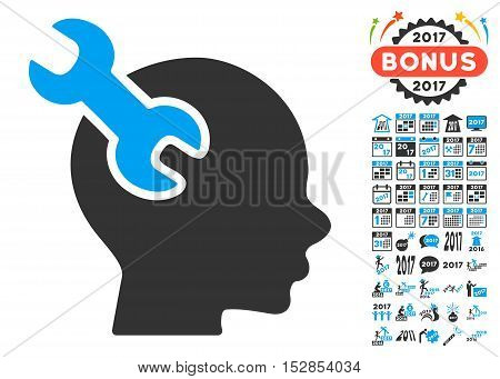 Brain Service Wrench pictograph with bonus 2017 new year images. Vector illustration style is flat iconic symbols, modern colors, rounded edges.
