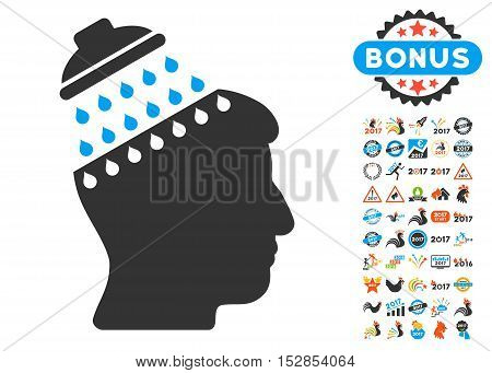 Brain Shower icon with bonus 2017 new year design elements. Vector illustration style is flat iconic symbols, modern colors, rounded edges.
