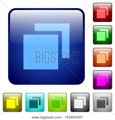 Set of overlapping elements color glass rounded square buttons