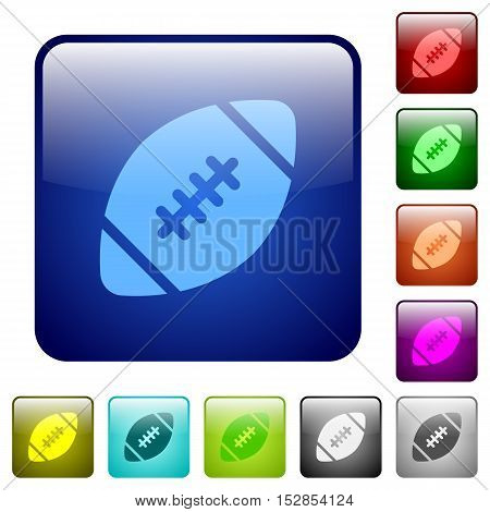 Set of rugby ball color glass rounded square buttons