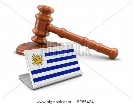 3D Illustration. 3d wooden mallet and Uruguayan Flag. Image with clipping path