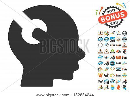 Brain Wrench Tool icon with bonus 2017 new year pictograms. Vector illustration style is flat iconic symbols, modern colors, rounded edges.