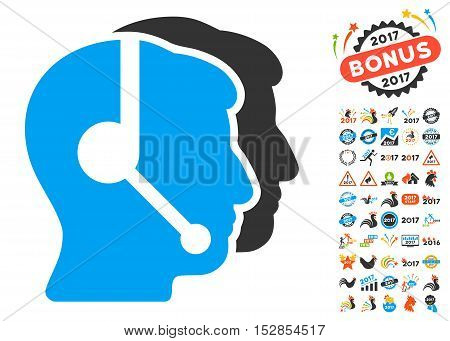Call Center Operators pictograph with bonus 2017 new year design elements. Vector illustration style is flat iconic symbols, modern colors, rounded edges.