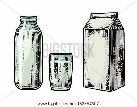 Milk box carton package glass and bottle. Vector engraving vintage color illustration. Isolated on white background.