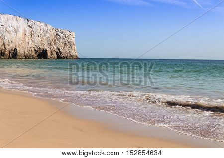 view of the beach in algarve during summer portugal