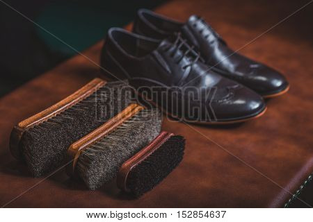 horse brushes next to elegant black shoes on the brown table