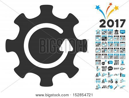Cog Rotation Direction pictograph with bonus 2017 new year graphic icons. Vector illustration style is flat iconic symbols, modern colors, rounded edges.