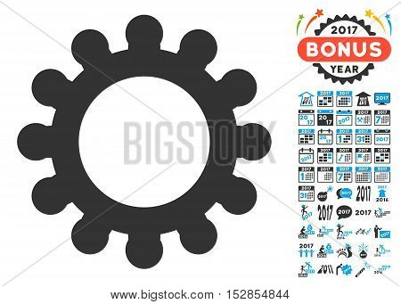 Cog pictograph with bonus 2017 new year graphic icons. Vector illustration style is flat iconic symbols, modern colors, rounded edges.