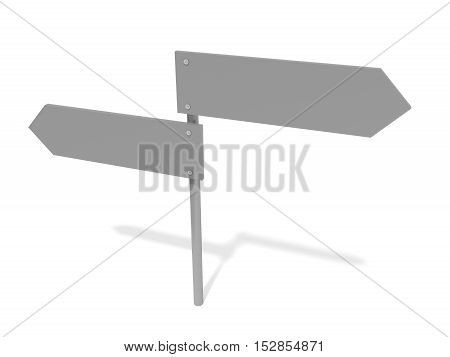 Blank Road Signs Pointing In Opposite Directions 3d illustration White Background