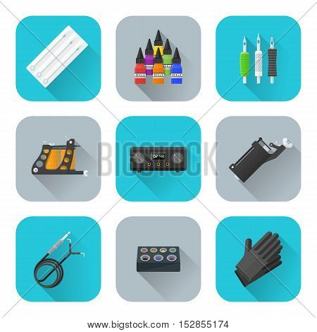 Vector Tattoo Equipment Icons Set.