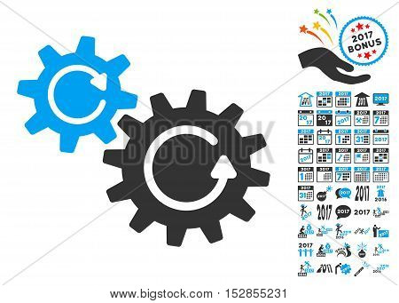 Cogs Rotation icon with bonus 2017 new year pictograph collection. Vector illustration style is flat iconic symbols, modern colors, rounded edges.