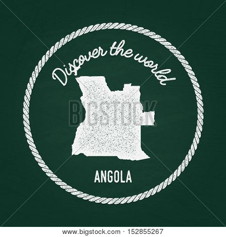 White Chalk Texture Vintage Insignia With People's Republic Of Angola Map On A Green Blackboard. Gru