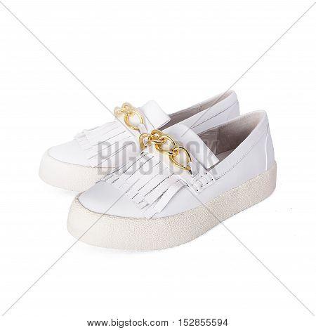 stylish female white shoes  in white background