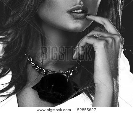 sexual female lips in blackly white color