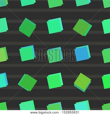 Seamless abstract green square color style pattern. Vector illustration