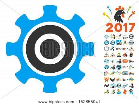Cogwheel pictograph with bonus 2017 new year symbols. Vector illustration style is flat iconic symbols, modern colors, rounded edges.