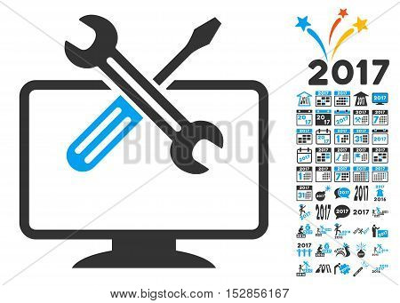 Computer Tools icon with bonus 2017 new year symbols. Vector illustration style is flat iconic symbols, modern colors, rounded edges.