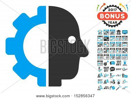 Cyborg Head pictograph with bonus 2017 new year pictograph collection. Vector illustration style is flat iconic symbols, modern colors, rounded edges.