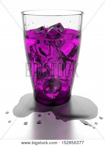 Ice cubes and pink water in drinking glass 3d rendering