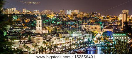 Night panorama of town Split in Croatia, Europe.