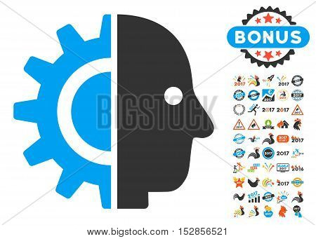 Cyborg Head icon with bonus 2017 new year pictograms. Vector illustration style is flat iconic symbols, modern colors, rounded edges.