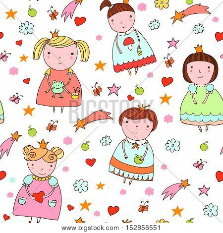 Seamless pattern with cute little princess in cartoon style.