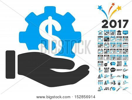 Development Service pictograph with bonus 2017 new year pictograms. Vector illustration style is flat iconic symbols, modern colors, rounded edges.