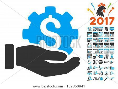 Development Service pictograph with bonus 2017 new year icon set. Vector illustration style is flat iconic symbols, modern colors, rounded edges.