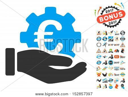 Euro Development Service Hand pictograph with bonus 2017 new year icon set. Vector illustration style is flat iconic symbols, modern colors, rounded edges.
