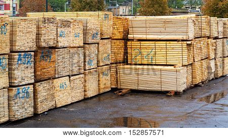 Industrial Products, Raw Materials, Timber And Sheet Steel Mill In The Industrial Port Quay Shopping