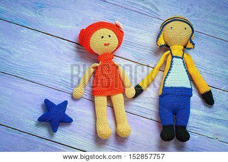 Handmade Crochet Girl And Boy Toys. Amigurumi Dolls, Space For Text.