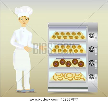 Baker in white dress with a modern electric oven and bread. Young baker with baked rools and cakes