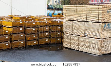 Odessa, Ukraine - October 13, 2016: Industrial Products, Raw Materials, Timber And Sheet Steel Mill